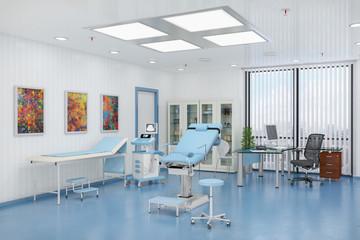 3d Render - Behandlungszimmer - Frauenarzt - Gynäkologie - Frauenheilkunde - Praxis