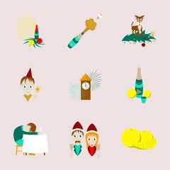 assembly flat illustration Christmas celebration