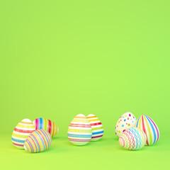 Frohe Ostern - 8 farbenfrohe, bemalte Ostereier auf grünen Hintergrund - Textfreiraum - Oster