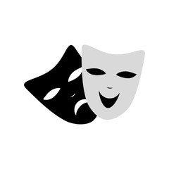 Venecian Carnival masks fun and sad isolated icon. Black and white color. Vector. Isolated