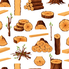 Seamless pattern of firewood materials, rerepeating background with wooden elements. Wood logs stubs tree trunk branches boards stump and planks wooden backdrop - flat vector illustration