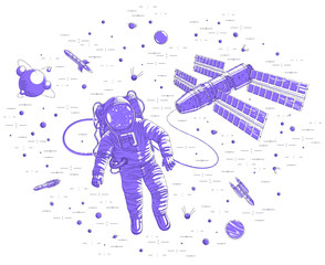 Spaceman flying in open space connected to space station, astronaut man or woman floating in cosmos and iss spacecraft surrounded by undiscovered planets and stars. Vector illustration isolated.