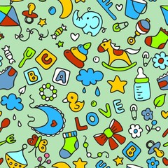 Multicolored pattern for kids and design. Background with the image of children's toys and objects. Horse, pyramid, cubes, love, whirligig, bucket, fork, spoon, cloud, flowers, elephant, duckling, nip
