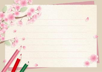 春の便箋フレーム