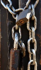 old rusty padlock and chain