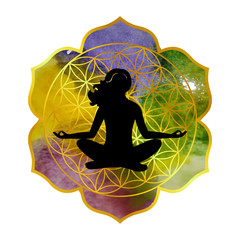 illustration on the theme of yoga with mandala and the girl