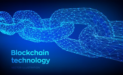 Block chain. Crypto currency. Blockchain concept. 3D Low polygonal chain consists of network connections. Concept of digital code. Editable cryptocurrency template. Vector illustration.