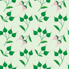 Elegant pink and green hand drawn buds on a subtly striped light green background. Sophisticated vintage seamless vector pattern perfect for stationery, textiles, home decor, giftwrapping, packaging.