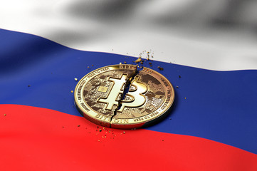 Cracked Bitcoin coin on Russian flag. Bad Bitcoin condition in Russia concept. 3D Rendering