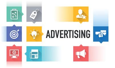 ADVERTISING FLAT ICON SET