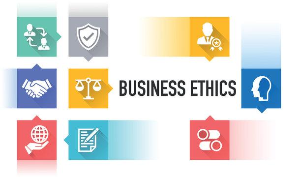BUSINESS ETHICS FLAT ICON SET