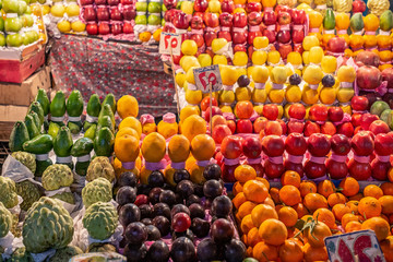 18/11/2018 Cairo, Egypt, counters with a variety of exotic fruits in the night bazaar in the center of the African capital