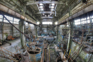 Abandoned and devastated former ore mine