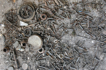 Old rusty bolts, nuts and washers
