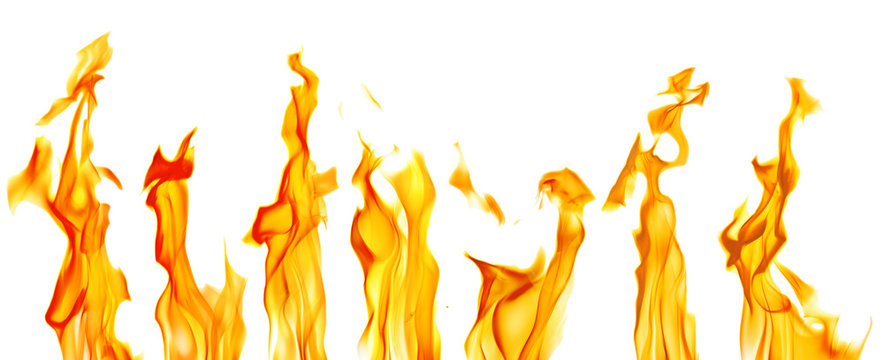 sparks of seven yellow bright flames on white