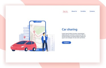 Car sharing service website template with automobile, man standing beside giant smartphone with city map on screen and place for text. Modern vector illustration for mobile application advertisement.