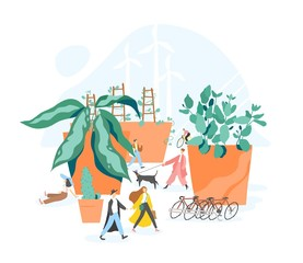 Concept of sustainable, eco or green city, car free area, urban sustainability, walkable urbanism. People walking among giant plants growing in pots. Colorful vector illustration in modern flat style.