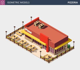 Vector Isometric Fast Food or Pizzerie Building with Sale Sign Board.