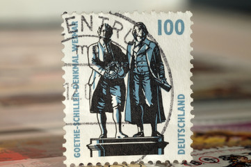 Postage stamp of Germany. Edition on Famous people, shows Goethe-Schiller Monument in Weimar, circa 1997