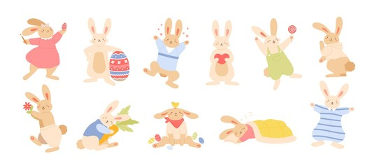 Set of cute funny Easter rabbits or bunnies isolated on white background. Bundle of adorable happy animals holding egg, carrot, lollipop, sleeping. Childish vector illustration for spring holiday.