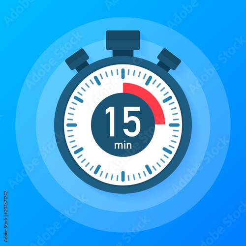 The 15 minutes, stopwatch vector icon  Stopwatch icon in flat style
