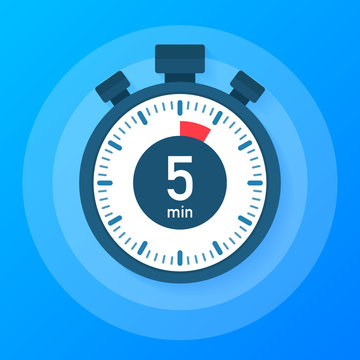 The 5 minutes, stopwatch vector icon. Stopwatch icon in flat style, timer on on color background.  Vector illustration.