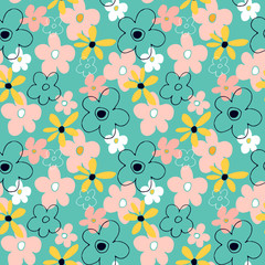 Seamless pattern with abstract flowers. Bright floral background with a blue background.