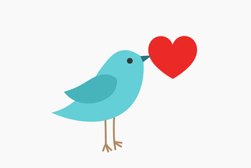 Cute blue bird with red heart.