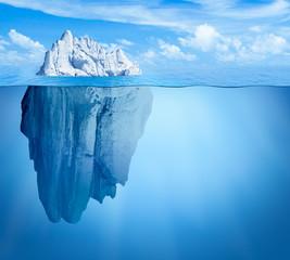 Iceberg in ocean. Hidden threat concept. 3d illustration.