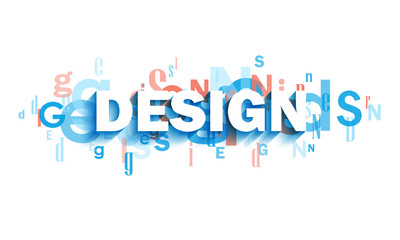 DESIGN blue and coral typography