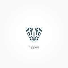 flippers icon. diving sign