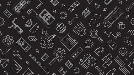landscape patterns about technology, programming, devices, etc. application technology industry. flat line design illustration