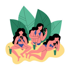 Three women in bikini use a smartphone. Women with cocktails. Vector illustration.