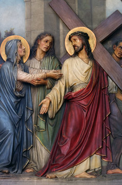 4th Stations of the Cross, Jesus meets His Mother, Basilica of the Sacred Heart of Jesus in Zagreb, Croatia