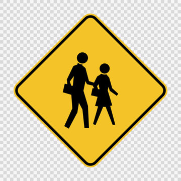 school crossing sign on transparent background