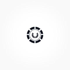 Casino chip with horseshoe icon