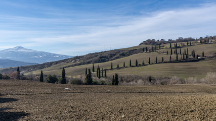 View of the typical Sienese countryside with Mount Amiata covered in snow in the background, Tuscany, Italy