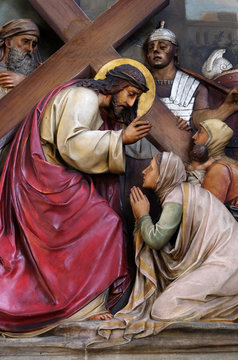 8th Stations of the Cross,Jesus meets the daughters of Jerusalem, Basilica of the Sacred Heart of Jesus in Zagreb, Croatia