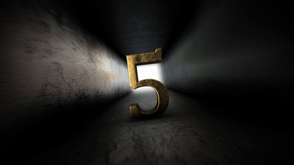 Number 5 countdown darkly. Counting numbers. Gloomy corridor.