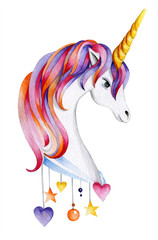 Head of a unicorn with a multi-colored mane. The chest is decorated with a pendant with hearts and stars. Fairy-tale character. Golden horn. Watercolor drawing. Isolated object on white background.
