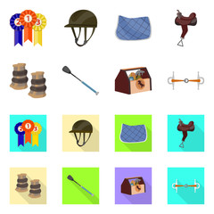 Vector illustration of equipment and riding symbol. Collection of equipment and competition vector icon for stock.