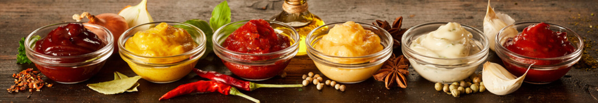 Assorted homemade sauces, marinades and dressings