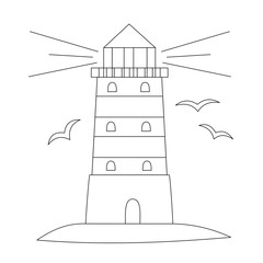 Lighthouse and sea bird. Line art for coloring book. Vector coloring page.