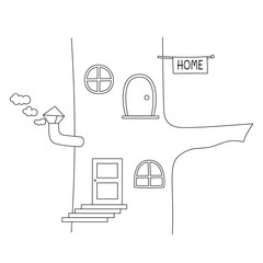 Fairy tale house in a tree trunk. Line art for coloring book. Vector coloring page.
