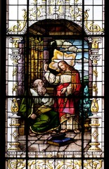 Stained glass window in the Basilica of the Sacred Heart of Jesus in Zagreb, Croatia