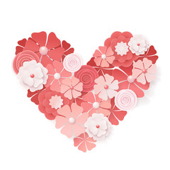 Beautiful floral heart for Valentines Day card.  Origami flowers. Vector illustration EPS10.
