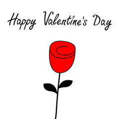 Happy Valentines Day. Rose flower blossom icon. Love Greeting card. Bud and leaves. Red black color silhouette. Flat design. White background. Isolated.