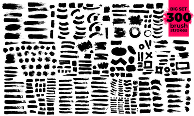 Giant set of black brush strokes. Paint, ink, brushes, lines, grunge. Strokes text. Dirty artistic design elements, boxes, frames. Freehand drawing. Vector illustration. Isolated on white background.