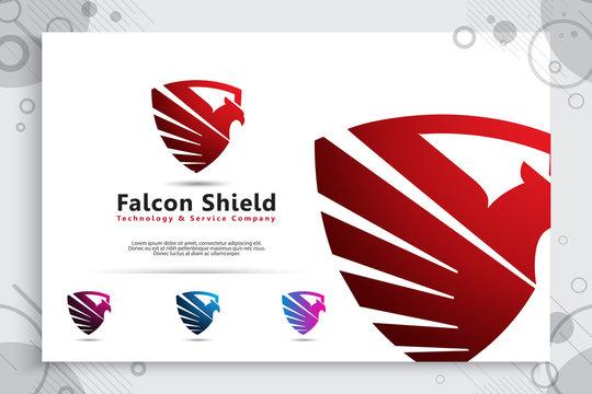 falcon Shield tech vector logo designs with modern style concept, illustration of bird shield as a symbol of cyber security for digital template company