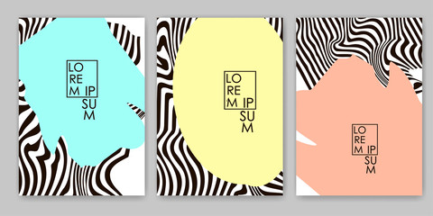 Black lines and colorful spots. Zebra backgrounds set. Templates for cover, card, banner, poster.